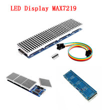 MAX7219 LED Display Dot Matrix Modul Mikrokontroler 4 Di Satu Layar dengan 5P Line 4 In 1 Merah TV LED Display Panel(China)