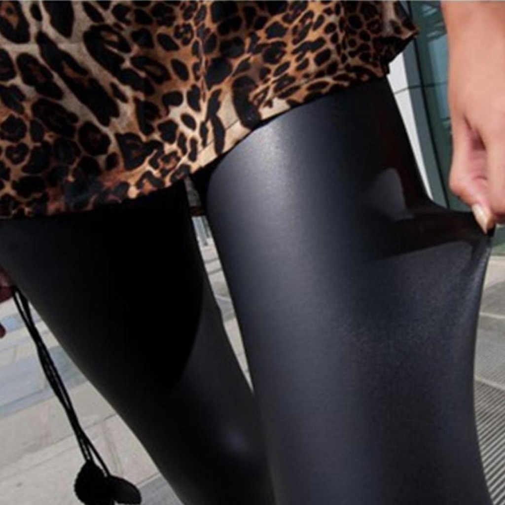 2019 Herfst Pu Faux Leather Leggings Vrouwen Zwarte Skinny Broek Vrouwelijke Koreaanse Slim Dames Plus Size Potlood Leggins S-4XL