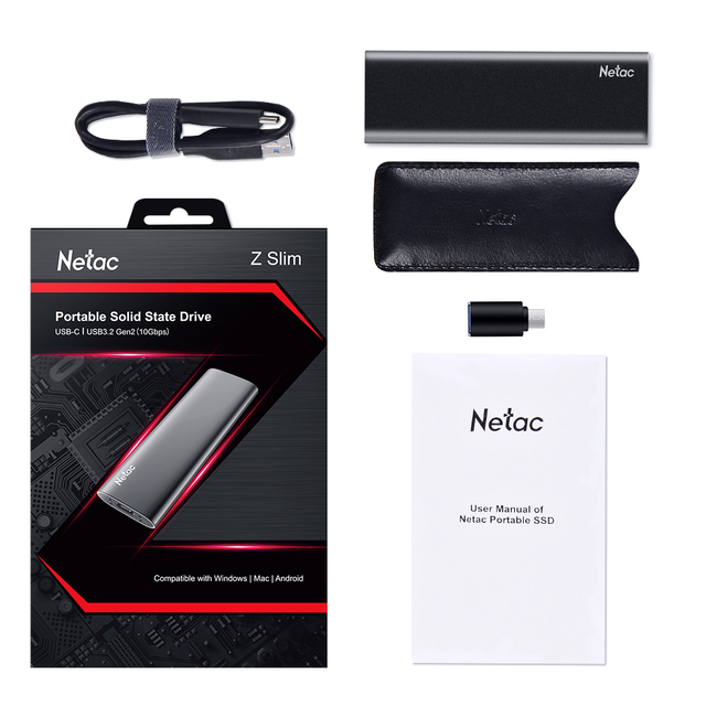 Netac ZSlim Portable External SSD 1TB 500GB 250GB SSD Hard Drive HDD Solid State Drive Type-c USB 3.1 Compatible for Laptop PC 5