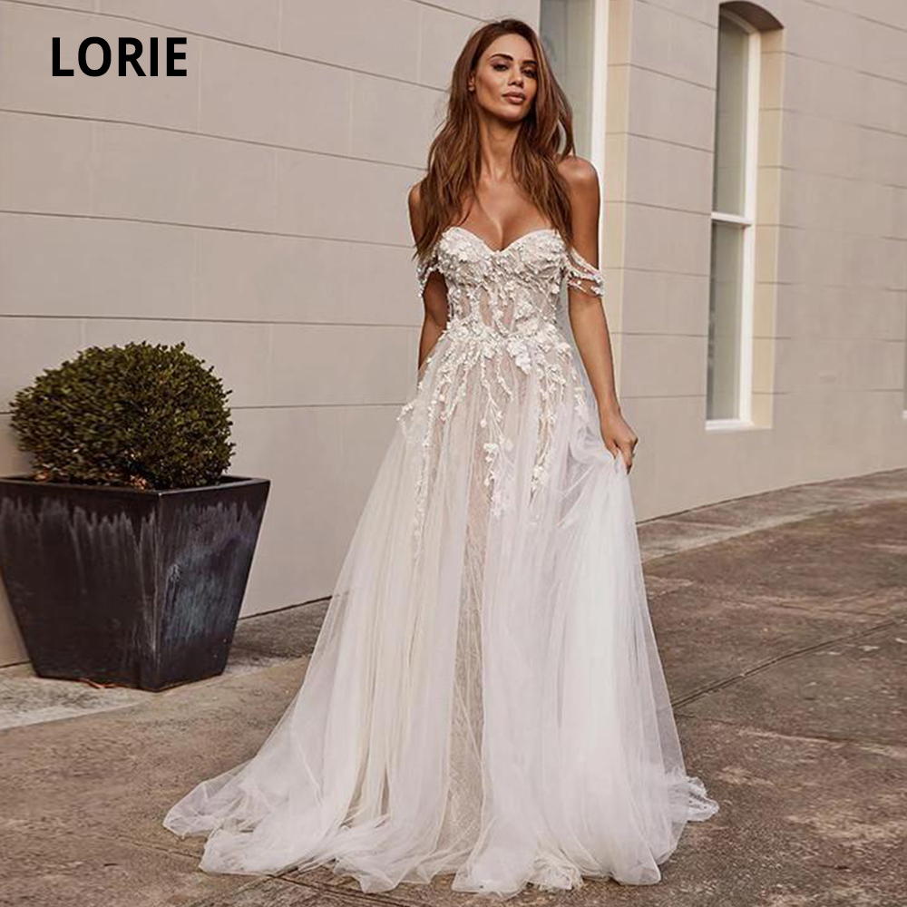 LORIE Lace Wedding Dresses Boho 2019 Off The Shoulder Appliques A Line Bride Dress Sleeveless Princess Wedding Gowns Plus Size
