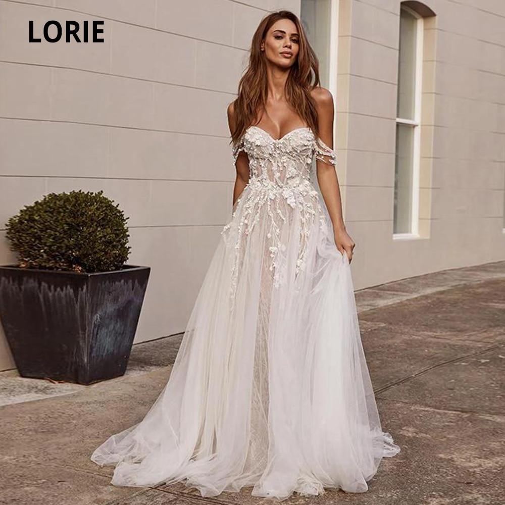 LORIE Lace Wedding Dresses Boho 2019 Off The Shoulder Appliques A Line Bride Dress Sleeveless Princess Wedding Gowns Plus Size