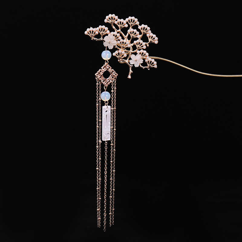 Classical Flower Simulated Pearls Tassel Hairpin Chinese Traditional Hair Stick Retro Headwear Hair Accessories LB