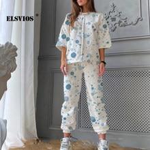 2021 Spring Summer New Women O Neck Print Fashion Casual Set Elegant Mid Sleeves Long Pants Loose Pullover Soft Streetwear Sets