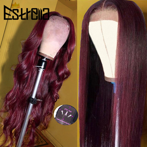 Image 1 - 99J Human Hair Wig Brazilian Straight Body Wave Lace Closure Wigs 4x4 Closure Wig Remy 100% Human Hair Wigs For Women