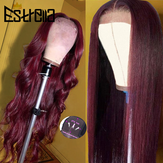 99J Human Hair Wig Brazilian Straight Body Wave Lace Closure Wigs 4x4 Closure Wig Remy 100% Human Hair Wigs For Women
