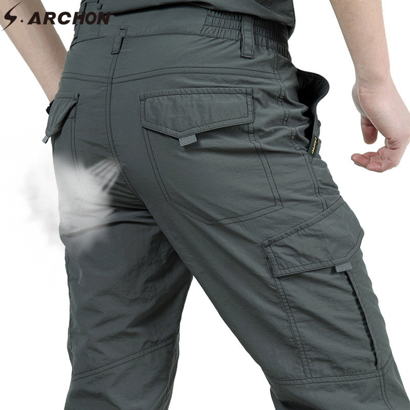 S.ARCHON Summer Tactical Pants Men Military Trouser Mens Army Style Cargo Pants Casual Quick Dry Waterproof Trousers Bottom Male