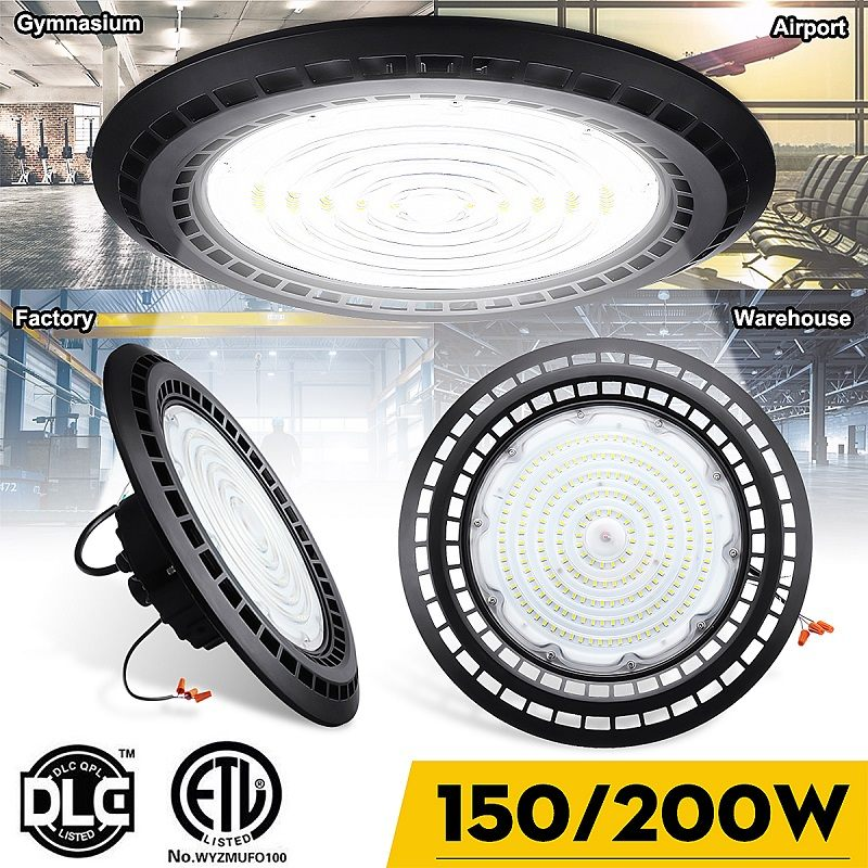 100W 150W 200W Professional LED High Bay Light Fixture 100-277V Waterproof Daylight Industrial Commercial Lighting forWarehouse