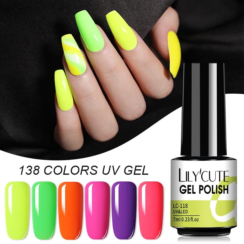 LILYCUTE 138 Colors Gel Nail Polish Yellow Bright Color Semi Permanant LED Soak Off Gel Varnish Matte Base Top Coat Hybrid Gel