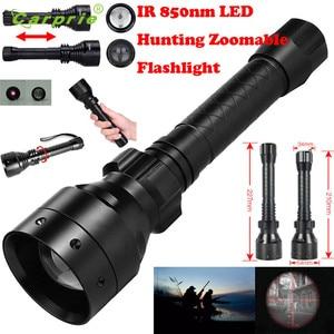 Image 5 - באיכות גבוהה ארוך טווח אינפרא אדום 10W IR 850nm T50 LED ציד אור ראיית לילה לפיד 18650 שחור 850nm IR ראיית לילה f801