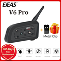 EJEAS V6 PRO Bluetooth Motorrad BT Communicator Helm Intercom Headset mit 1200m Sprech für 6 Fahrer