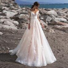 Розовые Свадебные платья принцессы; платье невесты с длинными рукавами и аппликацией; ТРАПЕЦИЕВИДНОЕ платье из тюля с блестками; Vestido Noiva Robe De Mariee