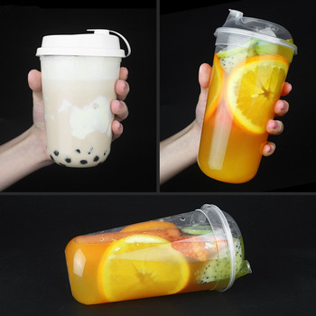 50pcs 90 caliber thickened injection U-cup disposable cold drink juice transparent net red milk tea plastic cups with lids