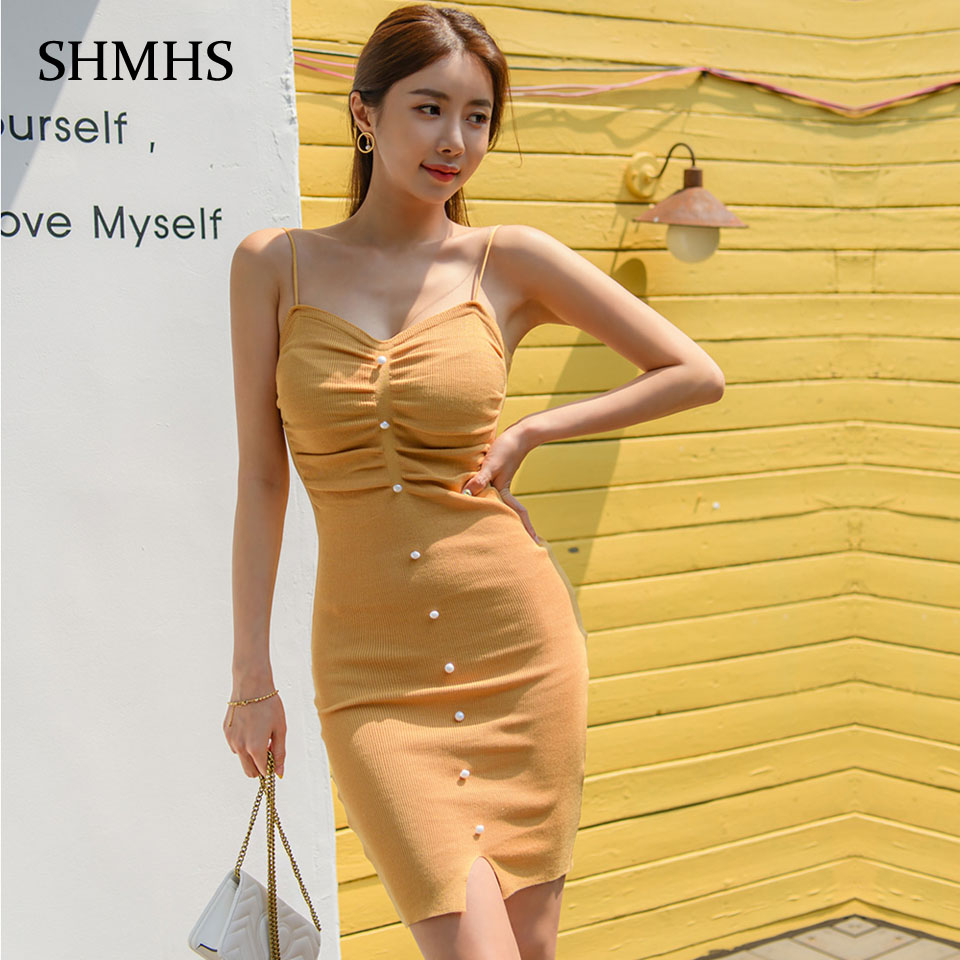 High Waist Tight Dress 2020 Cool Summer Simple Sexy Club Dress Single Row Decorative Buttons Spaghetti Strap Knit Dress Women image