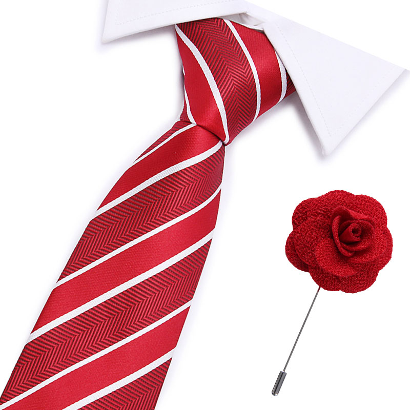 New Designer Solid Plain Men Tie Pocket Square Necktie Clasp Set Red Yellow Green Silk Ties Suit Wedding Business
