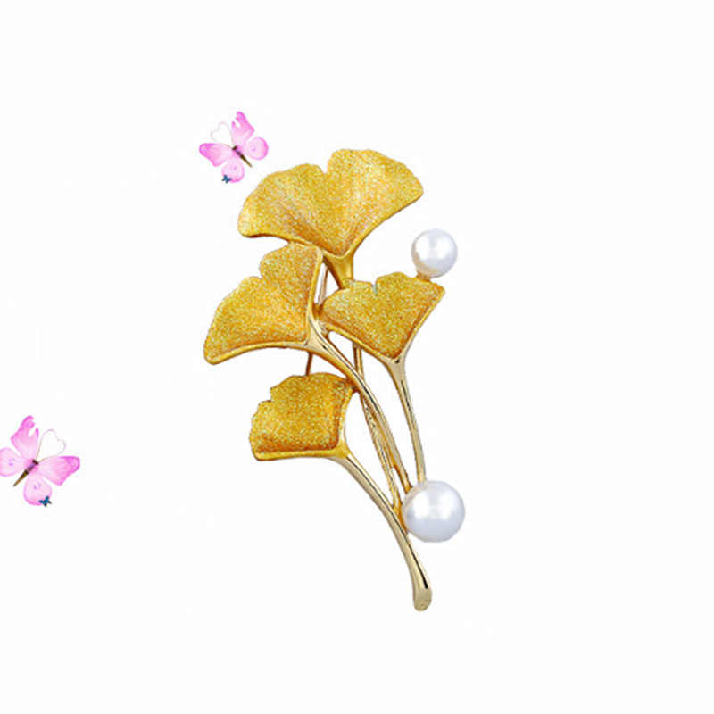 KingDeng ブローチ韓国のファッションギフト用女性アクセサリーピンクエナメルピンラペルピンかわいい真珠イチョウ葉パーティージュエリー