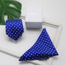 8cm Men's Pocket Square Necktie Set Red Bule Dot Woven Silk Handkerchief