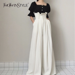 TWOTWINSTYLE Ruffle High Waist Wide Leg Pants Female Fashion Maxi Trousers Women Casual Clothes 2020 Spring Summer New