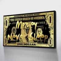 Lienzo pintura oro pared arte imagen dólares lienzo HD habitación decoración dinero pósteres e impresiones artísticos Cuadros Decoraci N Dormitorio