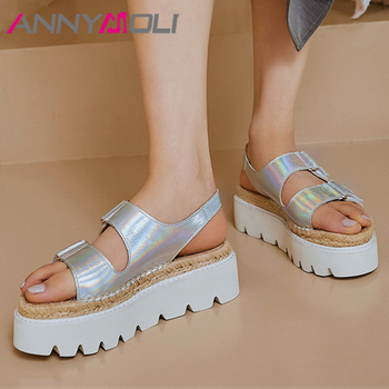 ANNYMOLI Natural Genuine Leather Sandals Espadrille Flat Platform Woman Shoes Open Toe Sandals Casual Lady Footwear Sliver Gold