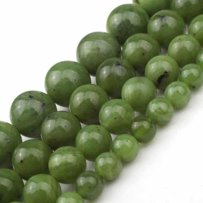 สีเขียวธรรมชาติแคนาดาหยกลูกปัดรอบหลวม 6 8 10 12 มม.อัญมณีลูกปัดสำหรับเครื่องประดับทำสร้อยข้อมือ DIY Charm สร้อยคอ 7.5 นิ้ว