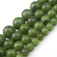 Green Natural Canadian Jade Beads Round Loose 6 8 10 12mm Gemstone Beads For Jewelry Making DIY Charm Bracelet Necklace 7.5 Inch