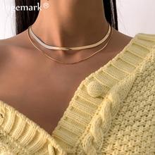 Multi camadas de lâmina plana cobra ligação corrente gargantilha colar feminino vintage jóias metal simples cor ouro colares colar 2021