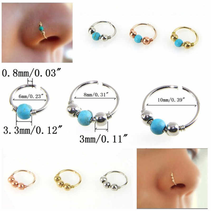 Fashion Hoop Beads Nose Earring Ring For Women Men Piercing Hiphop Body Nose Ear Piercing Jewelry Dropshipping
