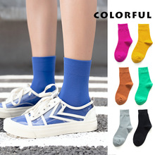 Colorful Women Basic Socks Daily Solid Colors Comb Cotton Midi Girls Casual High Quality Autumn Woman