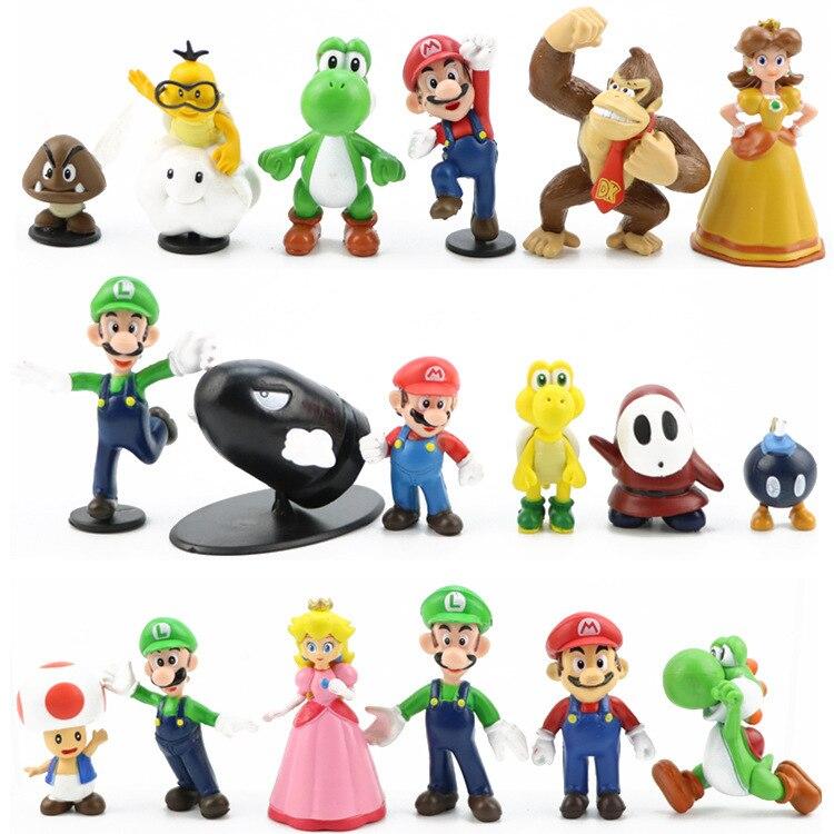 Super Mario verde tesoro de melocotón princesa Luigi Donkey Kong de juguete modelo de figuras de acción 18 unids/set niños regalo de cumpleaños