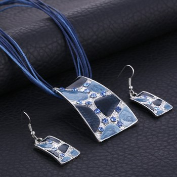 Gem Square Enamel Jewelry Set  4
