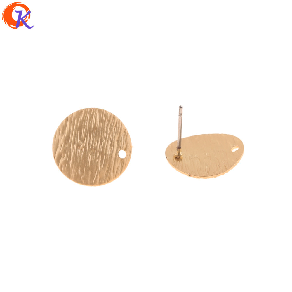 Cordial Design 100Pcs 14*14MM Jewelry Accessories/Hand Made/Matte Gold/Earrings Stud/Round Shape/DIY Making/Earring Findings