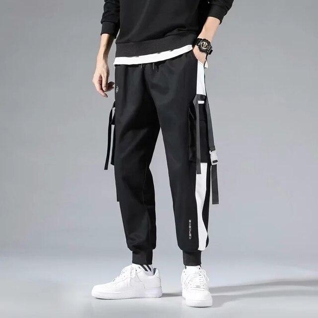 Men's Black Harem Overalls Multi-Pocket Ribbon