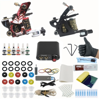 Tattoo Set 2 Coils Guns 6Bottle Pigment Inks Sets Power Supply Permanent Makeup Complete Tattoo Machine Kit 2 tattoo machine guns power supply pigment inks sets body art permanent makeup professional tattoo set
