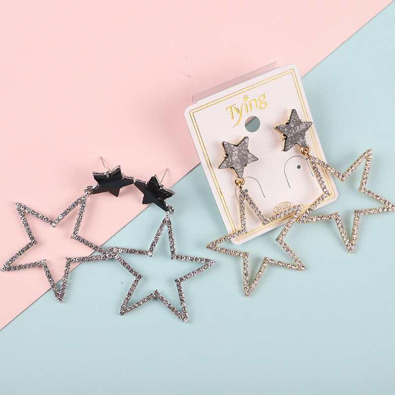 925Personality exaggerated five-pointed star ear nail female Korean temperament long paragraph pendant wild personality earrings