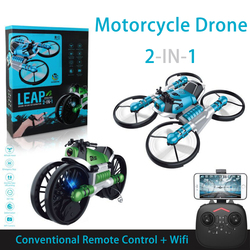 WiFi FPV RC Drone Motorcycle 2 in 1 Foldable Helicopter Drone With Camera 0.3MP Altitude Hold RC Quadcopter Motorcycle Drone