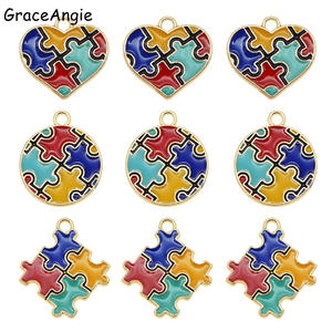 6pcs Enamel autism pendant Colorful Jewelry Making DIY Handmade Craft Puzzle Piece Charms For Bracelet Earrings Cute Gift DIY(China)