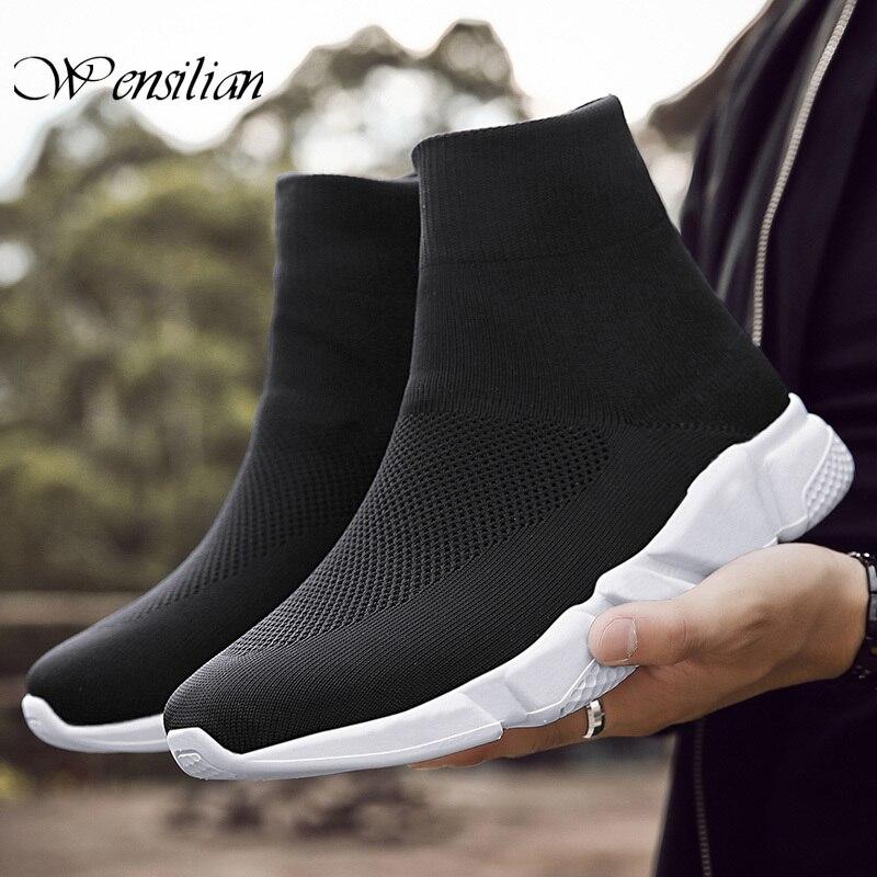 High Top Sneakers Men's Vulcanize Shoes Breathable Men Shoes Slip On Sock Sneaker Casual Vulcanized Sneakers Tenis Masculino