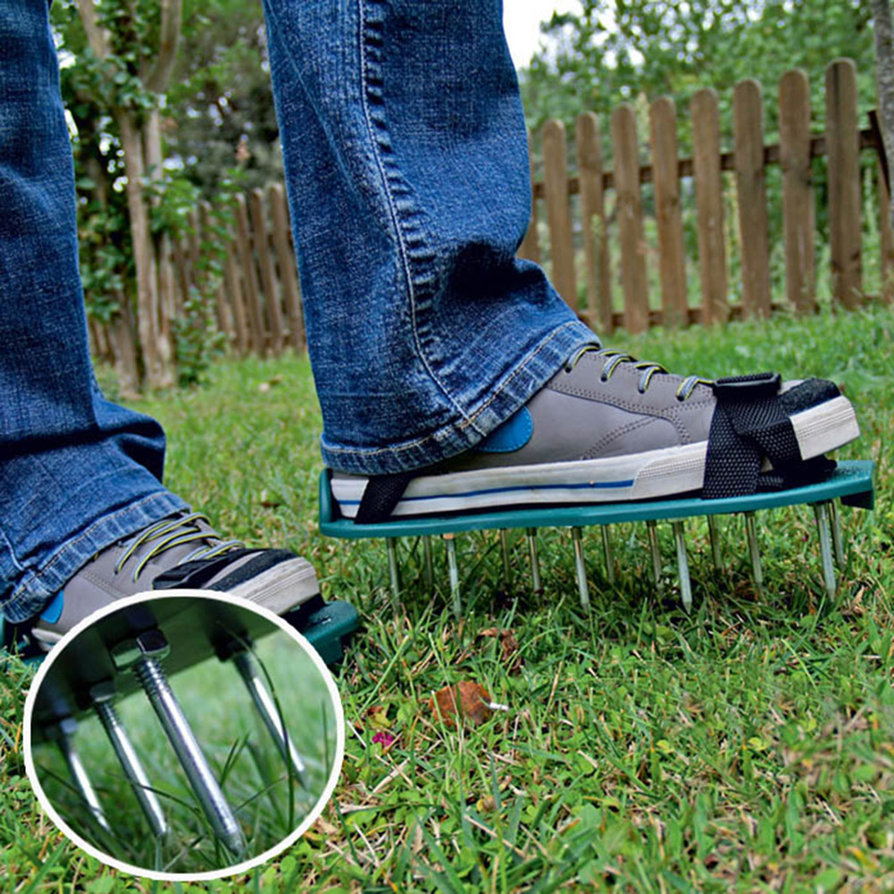 1 Pair Grass Spiked Gardening Walking Revitalizing Lawn Aerator Sandals Nail Shoes Scarifier Nail Cultivator Yard Garden Tools