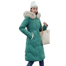 Winter Coat Women Green Plus Size Loose Feather Hooded Parkas 2019 New Korean Fashion Long Thick Warmth Jackets Clothing LD1185