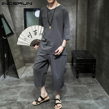 Length-Pants Mens Suits Cozy Shirt Men-Sets Streetwear INCERUN Chinese-Style Cotton Casual