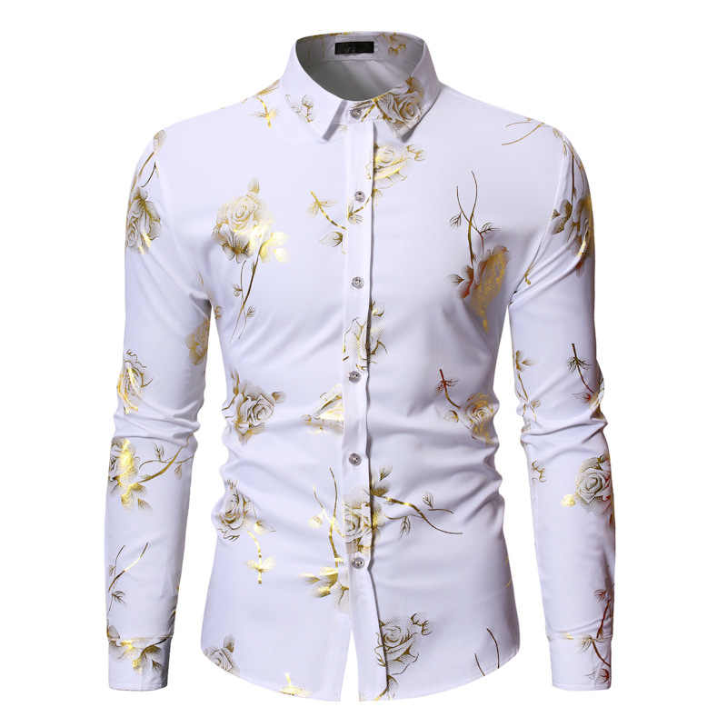 Luxury Gold Foil Print Shirt Men 2019 Autumn New White Rose Floral Shirt Mens Casual Dress Shirts Nightlcub Prom Shirt Camisas