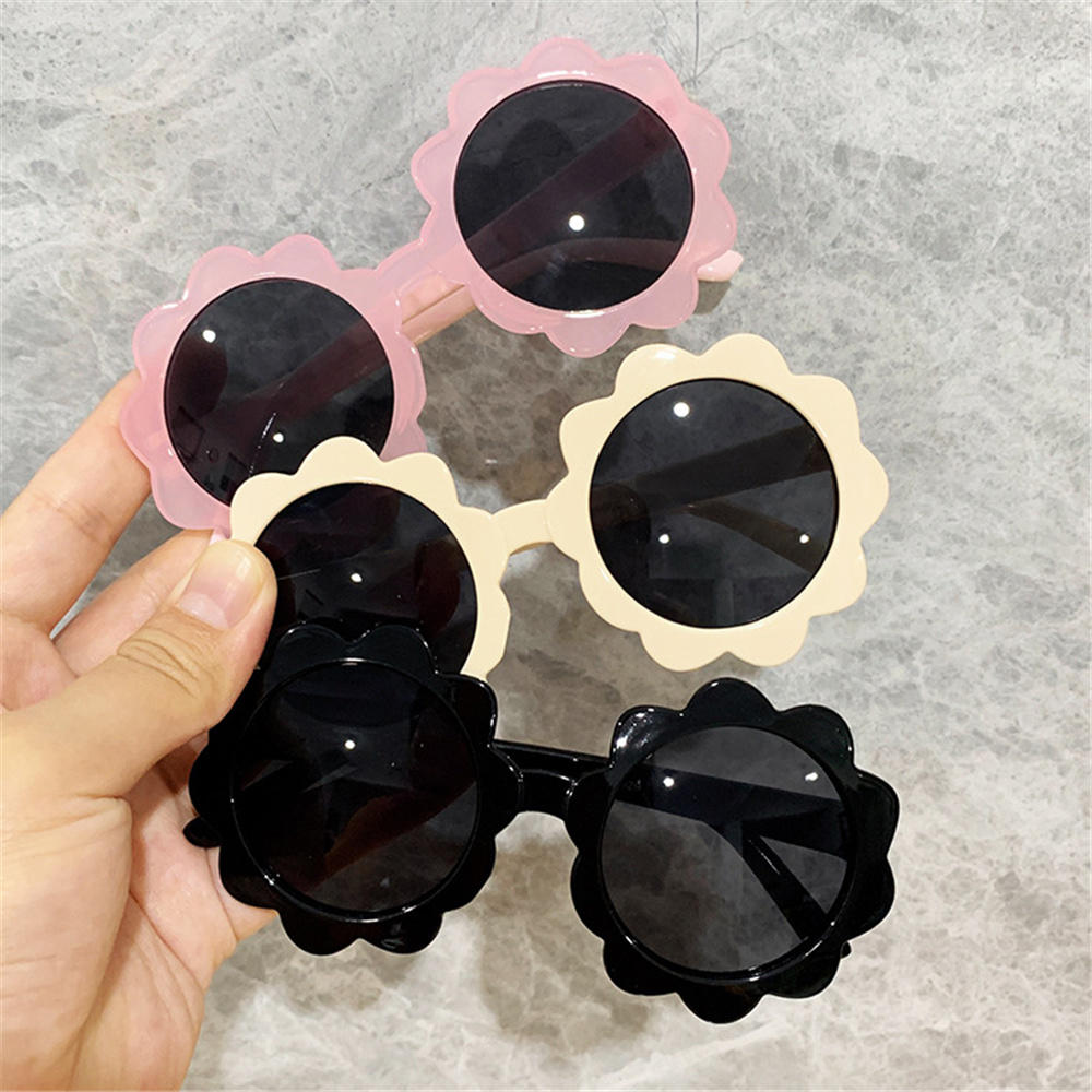 1pc Vintage Kids Sunglasses Child Sun Glasses Round Flower Gafas Baby Children UV400 Sport Sunglasses for Girls Boys New 2021