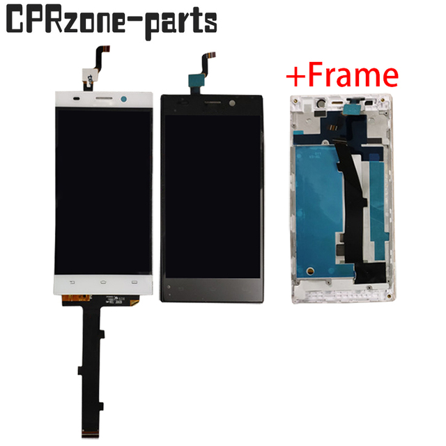 """5.0"""" Black / White / Gold + Frame For Philips Xenium V787 Lcd Display With Touch Screen Digitizer Sensor Panel Assembly"""