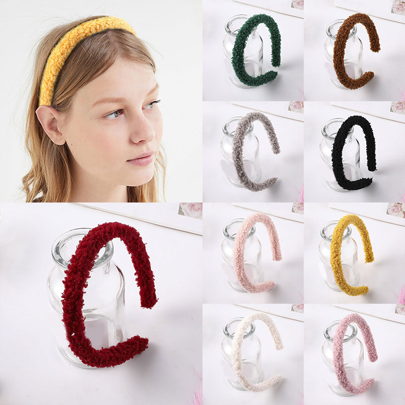 Candy Color Soft Plush Headband Winter Women Furry Lambswool Head Hoop Headwear Solid Color Hair Accessories Hairband For Women