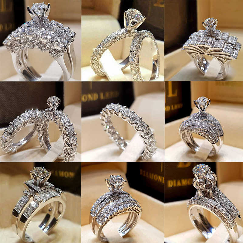 ZN جديد 2 قطعة طقم عروسة خواتم أنيقة للنساء الزفاف خطوبة مجوهرات الأزياء مع كامل لامعة مكعب الزركون خاتم الإناث