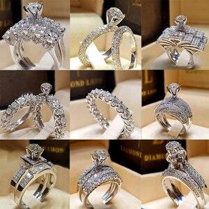 ZN NEW 2Pcs Bridal Set Elegant rings for Women Wedding Engagement Fashion Jewelry With Full Shiny Cubiz Zircon Female Ring(China)