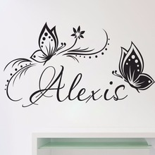 Personalized Name & Butterflies Wall Vinyl Decal Sticker for Baby Girl Room Custom Removable Stickers Bedroom Mural LW252