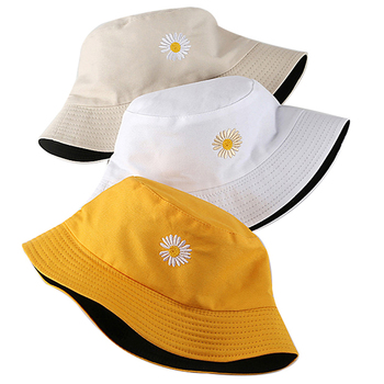 Summer Daisies Bucket Hat Women Fashion Cotton Beach Sun Hats Reversible Floral Fisherman