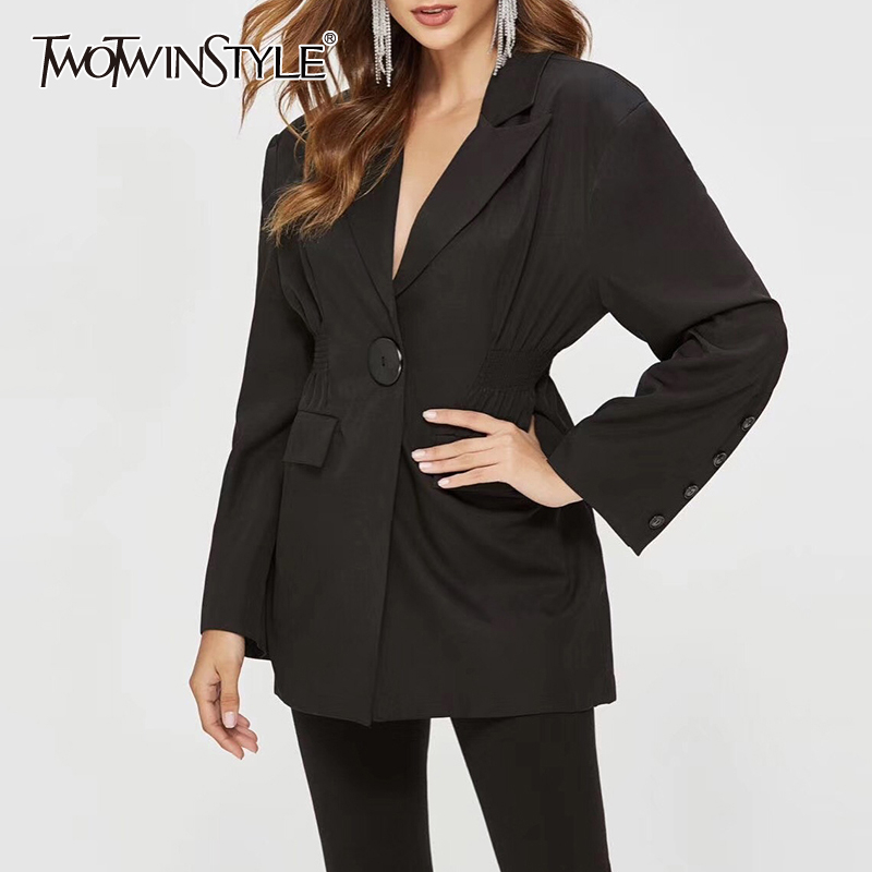 TWOTWINSTYLE Korean Black Women's Blazer Notched Long Sleeve Single Button Coats Female Autumn Large Size Fashion OL New 2020