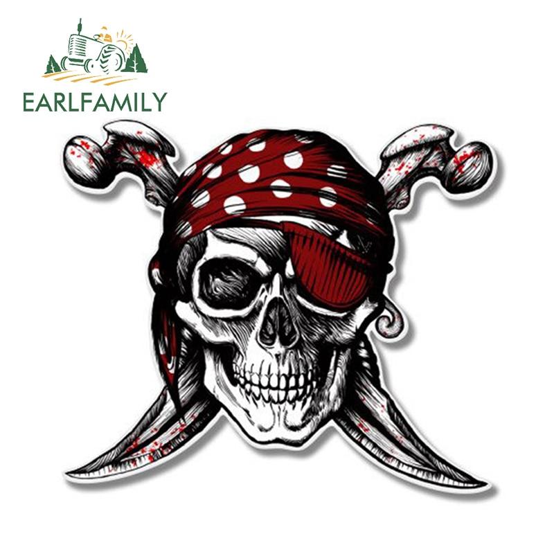 EARLFAMILY 13cm x 11.22cm Cool Car Accessories Pirate Skull Jolly Roger Decal Motorcycle Helmet Car Stickers Window Bumper Vinyl